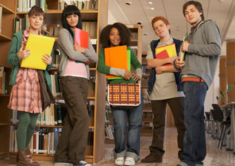Group of students at the library