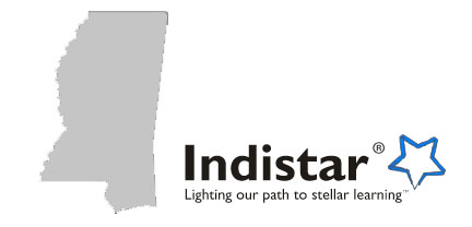 Mississippi state outline and Indistar logo