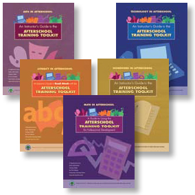 Photo of the covers of five afterschool guides.