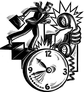 Image of a clock moving quickly, a person hurrying to a meeting, and a phone ringing..