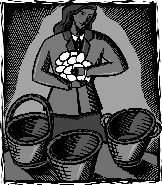 Image of a woman holding many eggs and looking at several baskets.