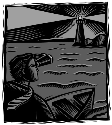 images of a person in a boat looking towards a lighthouse.