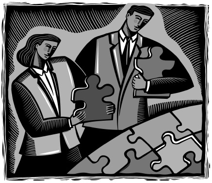 images of two people putting together a puzzle with large puzzle pieces.