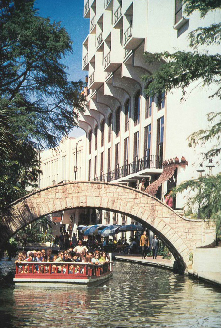 A photo showing the San Antonio riverwalk.