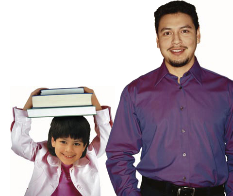 Photo of a man and girl with a stack of books.