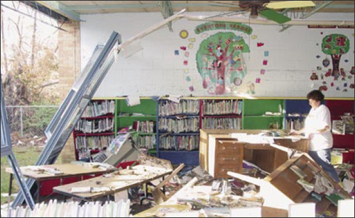 Photo of damaged library in Bay St. Louis Waveland School District, Mississippi