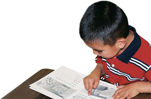 Photo of a young boy reading.