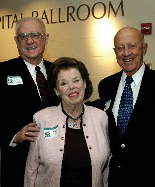 Former CEO Preston Kronkosky, Joan Holtzman, and former SEDL board chairman and UT dean Wayne Holtzman.