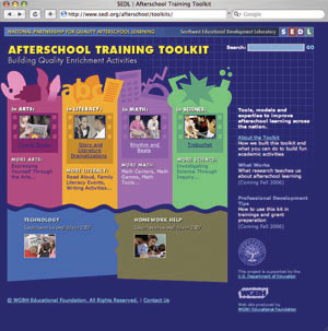 Screenshot of the AFterschool Toolkit web site.