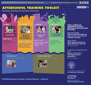 A screen shot of the Web site for the Afterschool Toolkit.