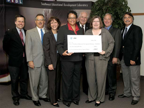 Photo of group receiving the AT & T Grant