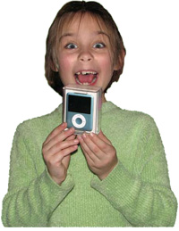 Second grader Meagan Killian receives her iPod