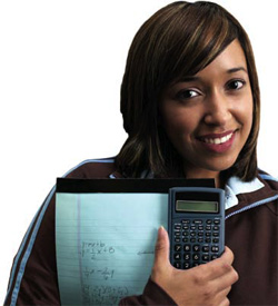 photo of a girl with a calculator
