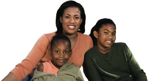 photo of a mother and her two middle school age daughters