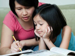 Mother and daughter studying together.