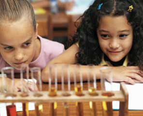 Photo of two girls examining a row of test tubes.