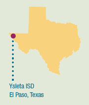 Image of a map of Texas showing the location of Ysleta ISD.