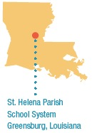 A map of Louisiana showing the location of St. Helena Parish School System.