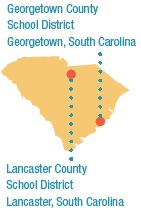 A map of South Carolina showing the location of the Georgetown and Lancaster school districts.