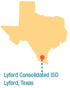 A map of Texas showing the location of Lyford Consolidated ISD.