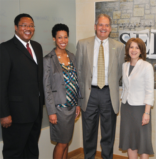 Photo of several speakers frmo the forum: Carl Harris, Kandace Jones, Wes Hoover, and Elaine Allensworth