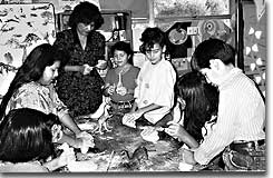 children playing with clay