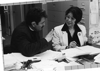 Picture of Saul Lopez and Margarita Calderon at work in office