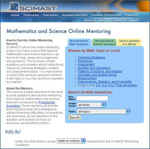graphic showing a view of the main Math and Science Mentoring Web page