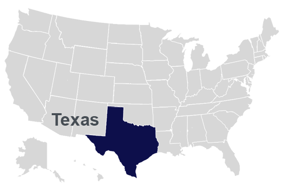 State map with Texas Blue